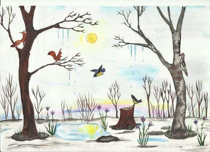 Картинка прихода весны рисунок