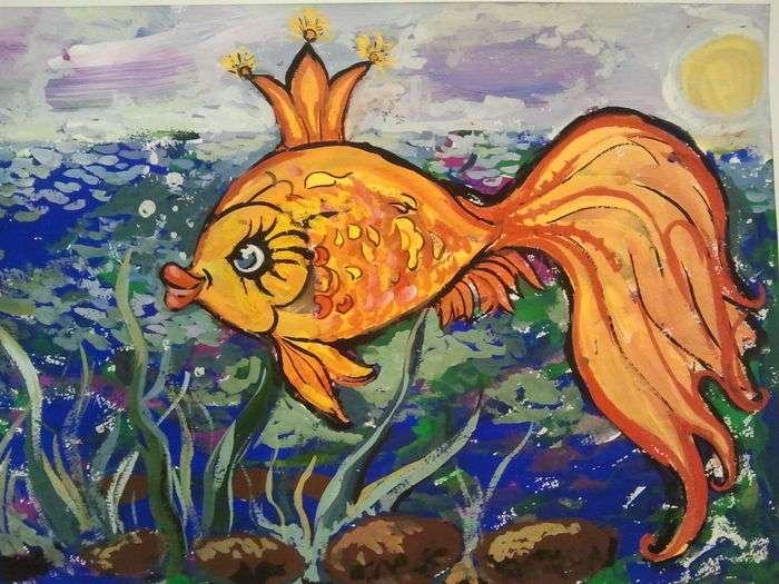 Студентов картинка, рисунок золотой рыбки из сказки пушкина