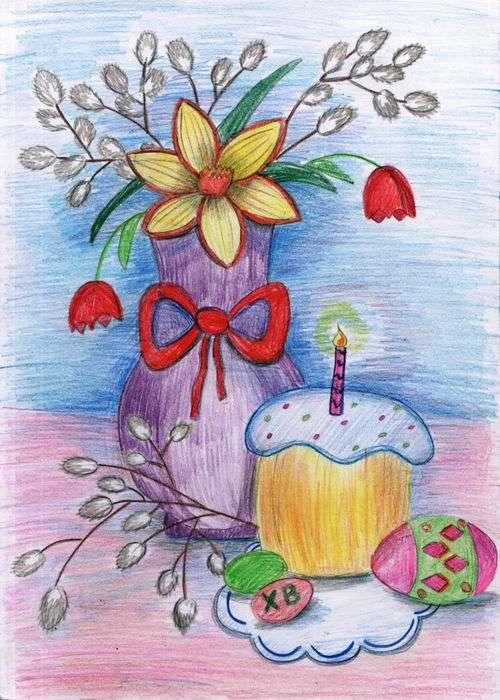 Днем, пасхальная открытка рисунок цветными карандашами