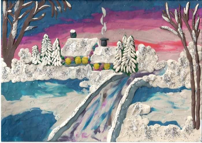 картинки из пластилина про зиму