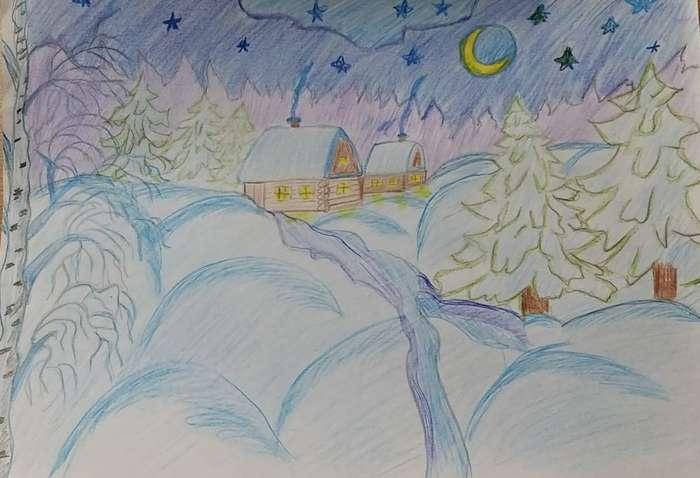 варианты картинки карандашом здравствуй зимушка зима кухонный